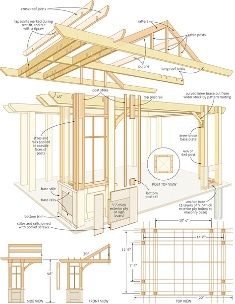 Plans Build A Pergola Attached To House Furnitureplans Large Pergola Plans