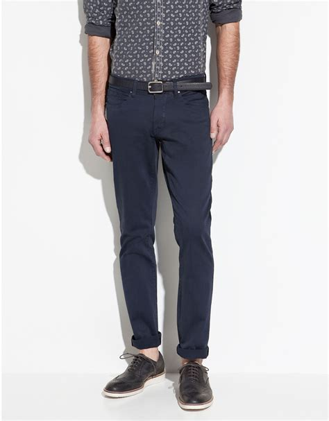 Fashion Trousers Color Slim Design Navy zara slim fit trousers in blue for navy lyst