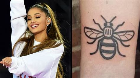 ariana grande tattoo grande gets a bee tattooed to support manchester
