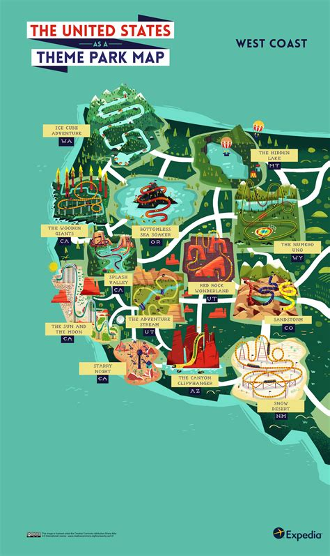theme park united states outdoor adventure a theme park map of the united states
