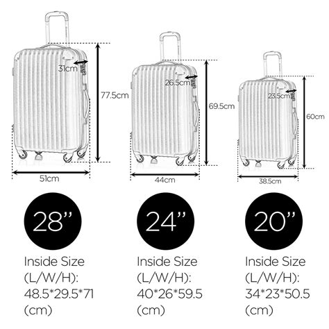dimensions for cabin luggage shell 4 wheels suitcase trolley travel bag cabin