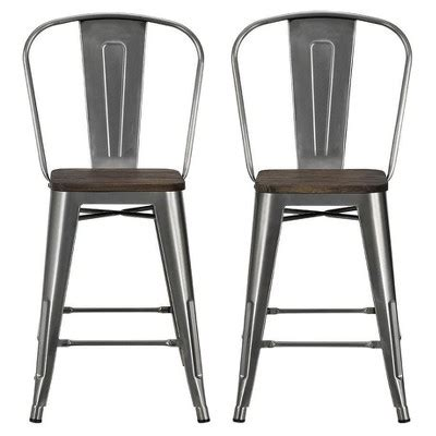 Dhp Luxor Metal Bar Stool by Dhp 23 5 Luxor Metal Counter Stool With Wood Seat Set Of
