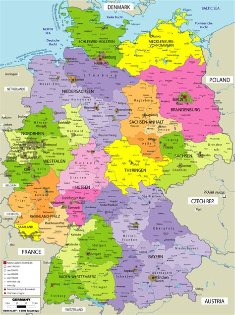germany maps large political map of germany