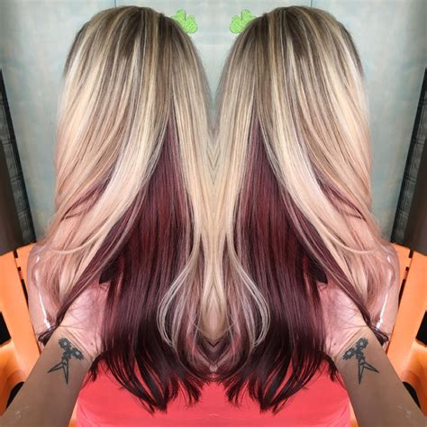 how to put brown under blonde hair blonde with violet red underneath hair i ve done