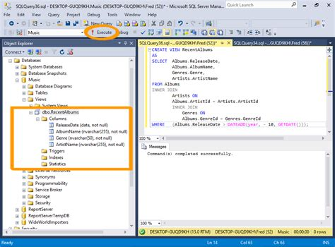 sql query tutorial for sql server sql server 2016 create a view