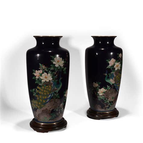 Antique Japanese Cloisonne Vases by Antique Pair Of Japanese Blue Cloisonne Vases Just