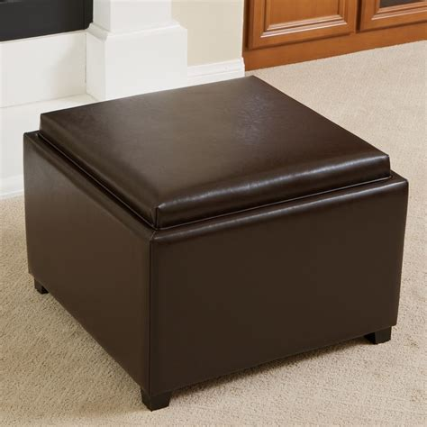 Elegant Design Brown Leather Tray Top Storage Ottoman Leather Tray Top Storage Ottoman