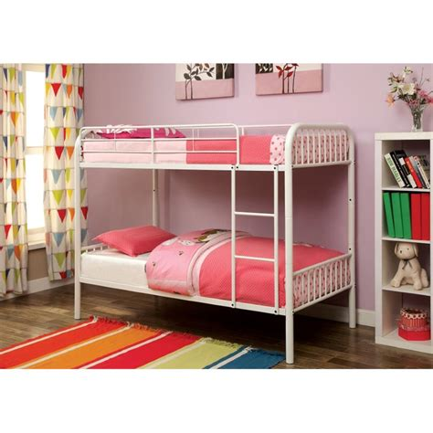 Cymax Bunk Beds Furniture Of America Capelli Metal Bunk Bed In White Idf Bk1035wh