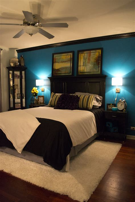teal bedroom decor pleasant bedroom in teal palette home design exterior 13475 | gothic black bedroom furniture set decorated with white lighting also flush mounted ceiling fan plus teal wall paint color accent