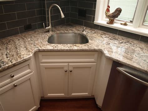 Corner Kitchen Sink Corner Sink Transitional Kitchen Newark By Kraftmaster Renovations