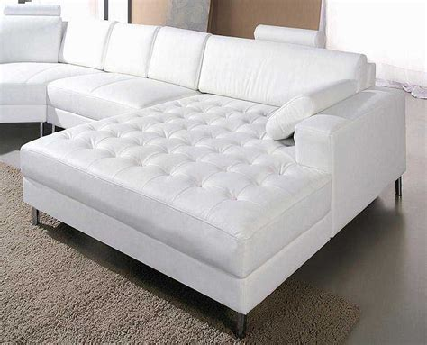 White Leather Snow Sectional Sofa Sectionals