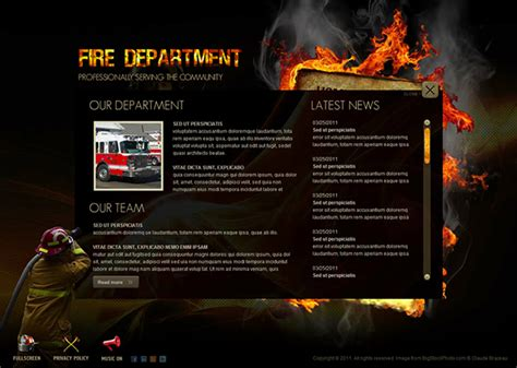 Fire Department Dynamic Flash Template On Behance Dynamic Flash Website Templates Free