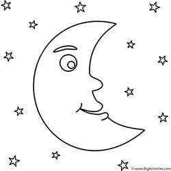 moon coloring pages crescent moon with coloring page space