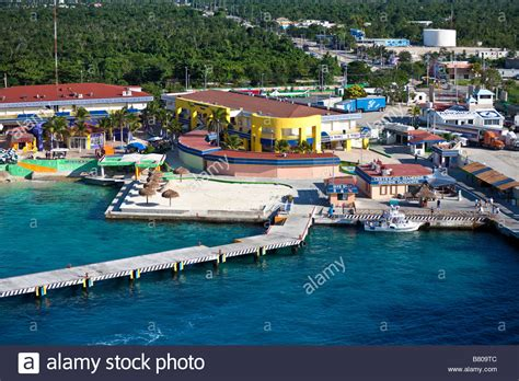 cozumel mexico cruise port cruise ship docks at the port of cozumel mexico stock