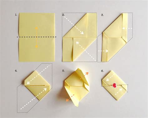 Note Folding Origami - diy stationery for s day