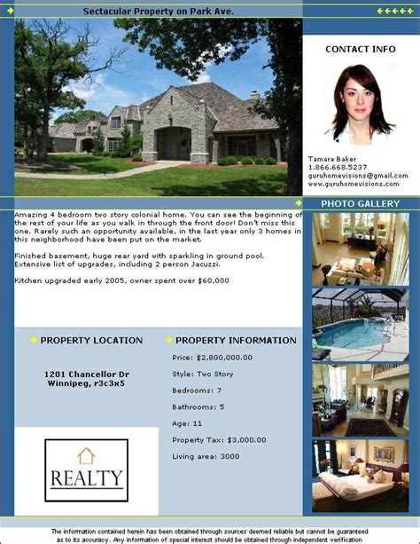 Real Estate Flyer Templates Pdf Format Brochure Templates Real Estate Disclaimer Template