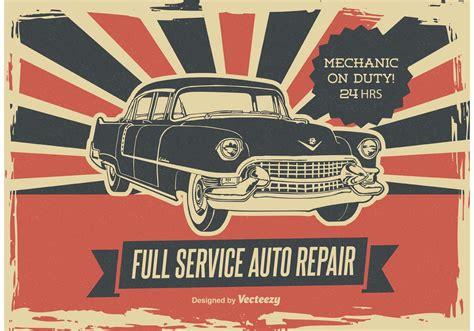 Wedding Car Poster by Retro Car Repair Poster Free Vector Stock