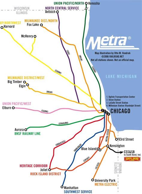 chicago metra map illinois metra map