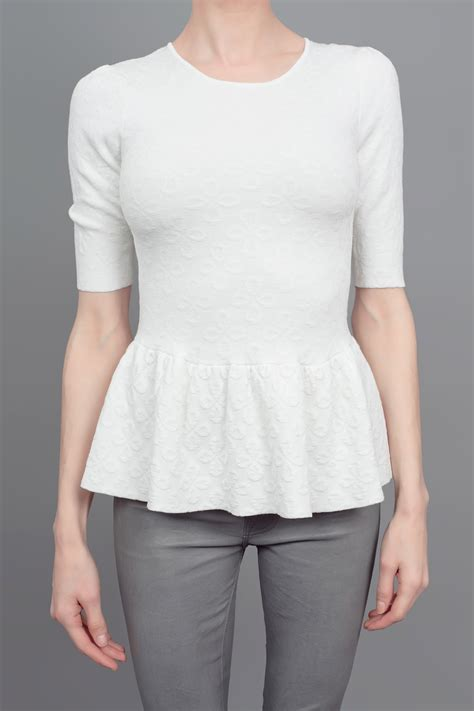 White Peplum Blouse torn by ronny kobo peplum top white in white lyst