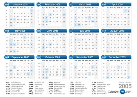 Calendar For 2005 2005 Calendar
