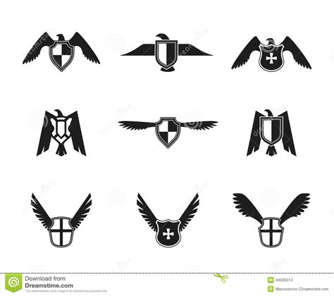 eagle icon shield set stock vector image 44036514
