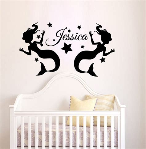Nursery Wall Name Decals Personalized Decal Name Vinyl Wall Decal Nursery Decor Mermaid Sticker Ebay