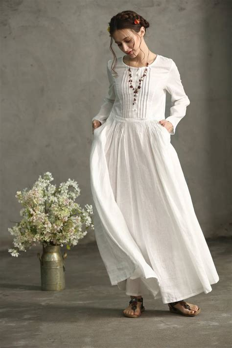 White Linen Wedding Dresses by White Linen Dress Maxi Dress Pleated Waist And Pintuck