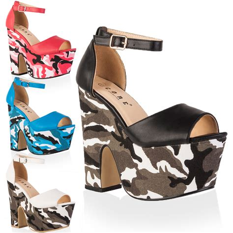 new camouflage print womens peep toe cut out wedge