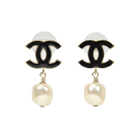 second chanel cc pearl drop earrings the fifth