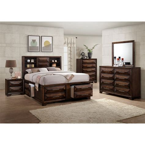 united furniture industries anthem mid century modern queen bookcase bed  footboard storage