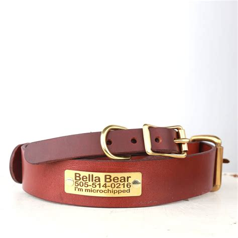 personalized brown leather collar belt buckle style