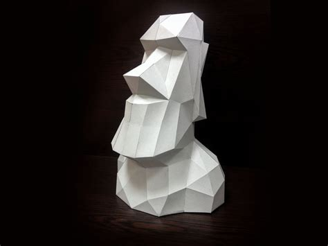 3d Model To Papercraft - printable paper model of moai 3d papercraft model