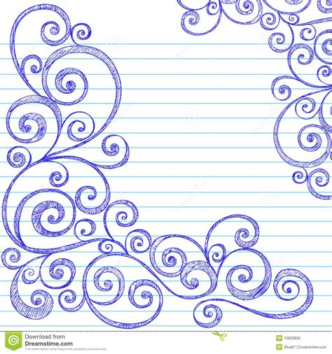 doodle paper sketchy doodles swirls on notebook paper vector royalty