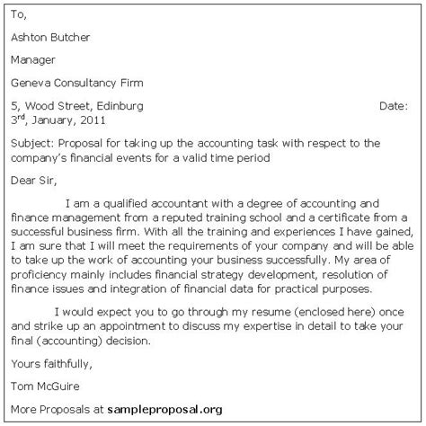 Business Letter For Accounting Services Accounting Letter Sle Proposals