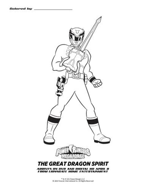 coloring pages of power rangers megaforce power rangers megaforce the great dragon spirit printable