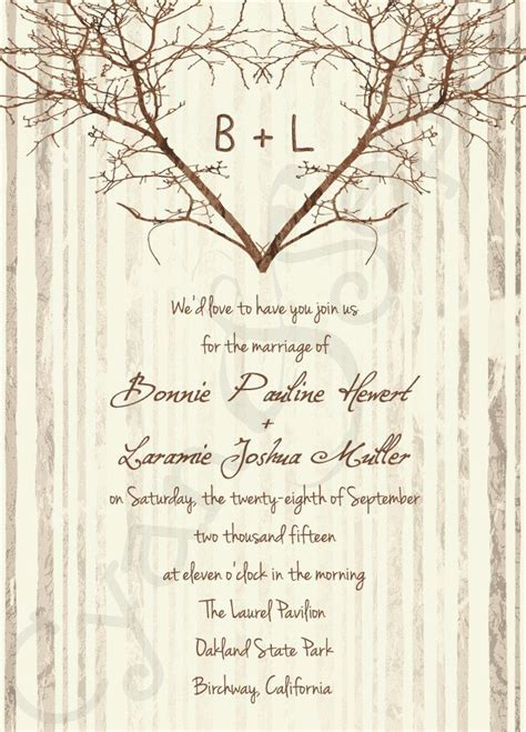 printable wedding invitation  branch heart tree wood love rustic nature woodland twigs