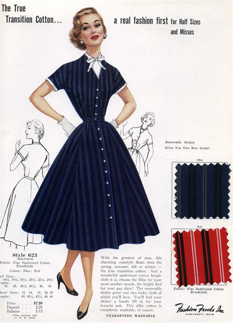 on sale 1950s fashion advertisement fashion frocks 623 navy