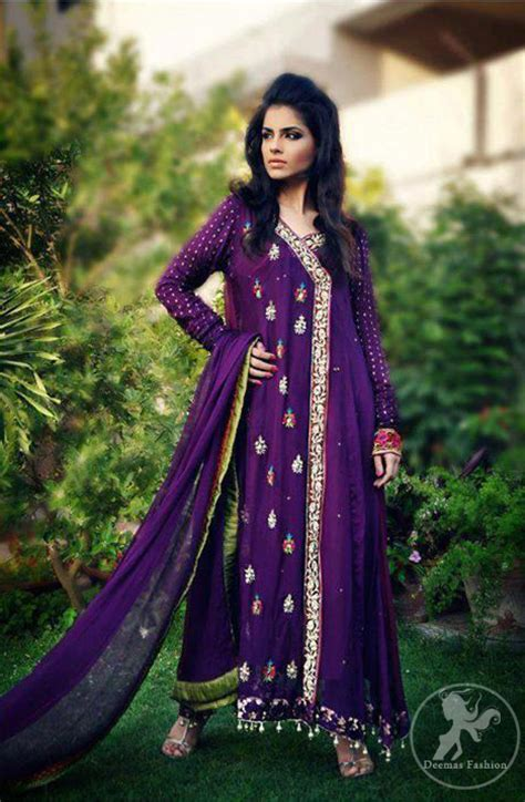 purple aline casual angrakha style dress latest designer