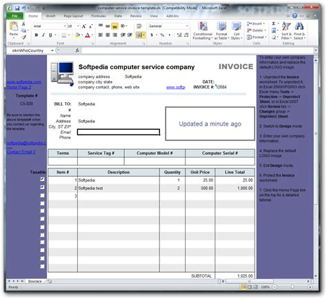 computer service invoice template computer service invoice template 1 10 incl