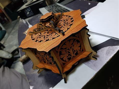 wooden hexagonal box cnc router laser template  file