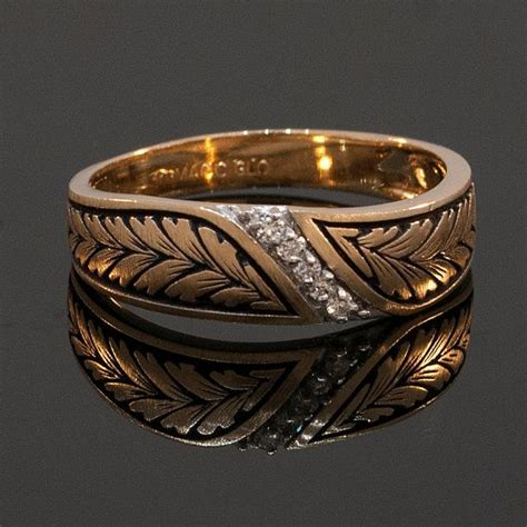 antique wedding bands for him vintage mens 14k yellow gold and diamond wedding band