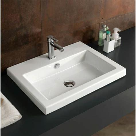 23 inch drop in or wall white ceramic bathroom sink