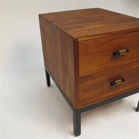 low bedside tables med century modern walnut low bedside table chest for sale at 1stdibs