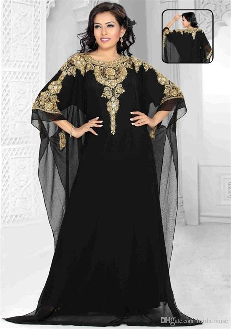 Turkey Maxi Golden dubai evening gowns 2018 chiffon gold and black