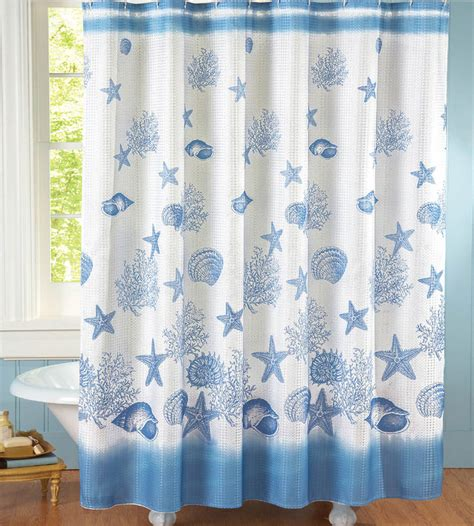 seashell shower curtains blue white fabric shower curtain nautical coastal beach