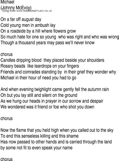 Irish Music, Song and Ballad Lyrics for: Michael
