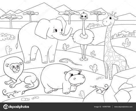 african savanna landscape coloring pages coloring pages