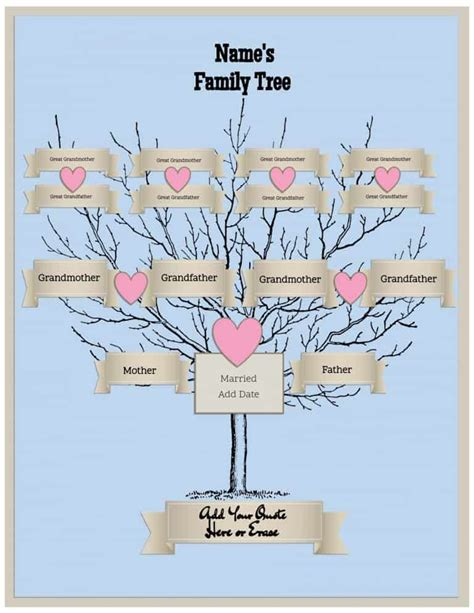 family tree portrait template free family tree template customize then print