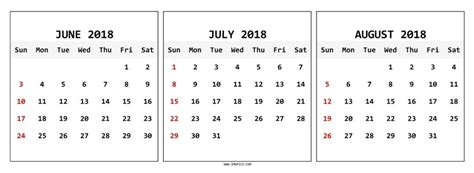 printable calendar july august 2018 june july august 2018 calendar printable journalingsage com