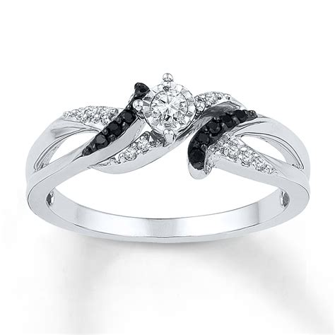 jared black ring 1 6 ct tw cut sterling silver